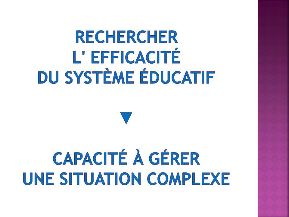 Rechercher l Efficacité du système éducatif ▼ Capacité à gérer une situation complexe
