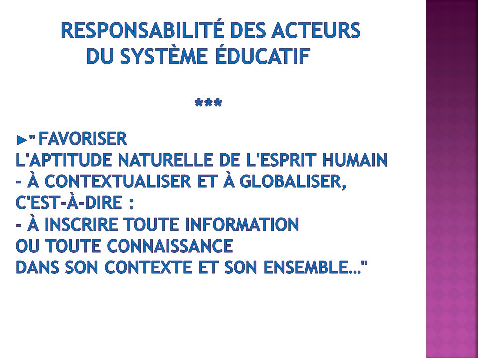 responsabilité des acteurs du système éducatif