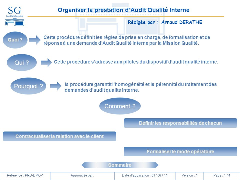 Organiser la prestation d'Audit Qualité Interne
