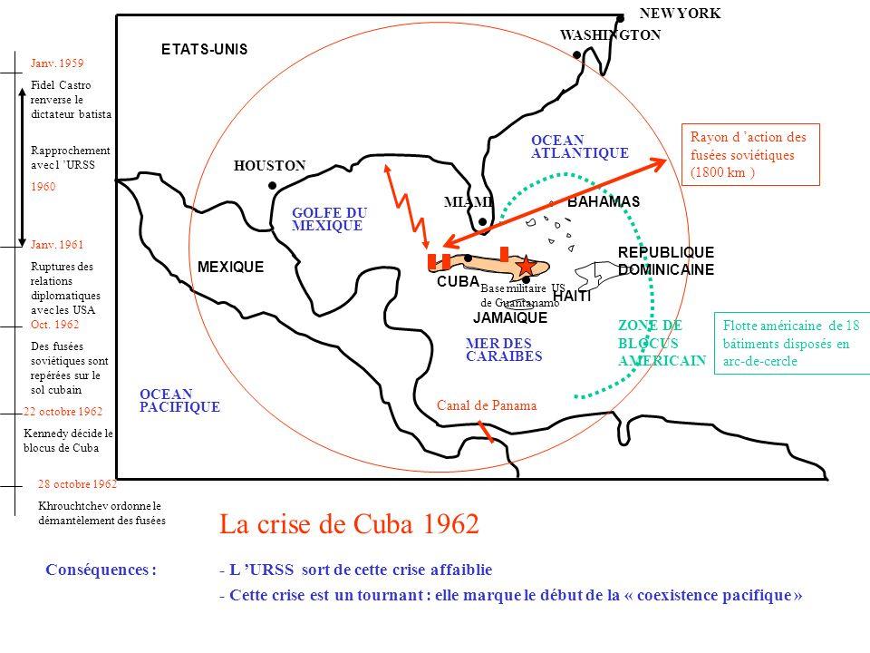 NEW YORK WASHINGTON. ETATS-UNIS. Janv. 1959. Fidel Castro renverse le dictateur batista. Rapprochement avec l 'URSS.