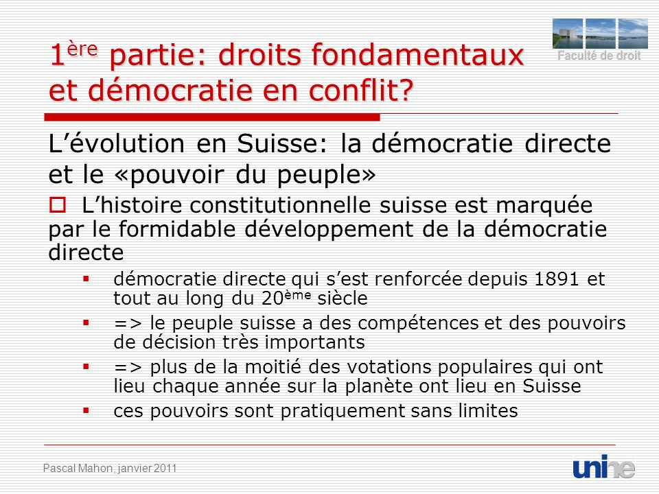 1ère partie: droits fondamentaux et démocratie en conflit