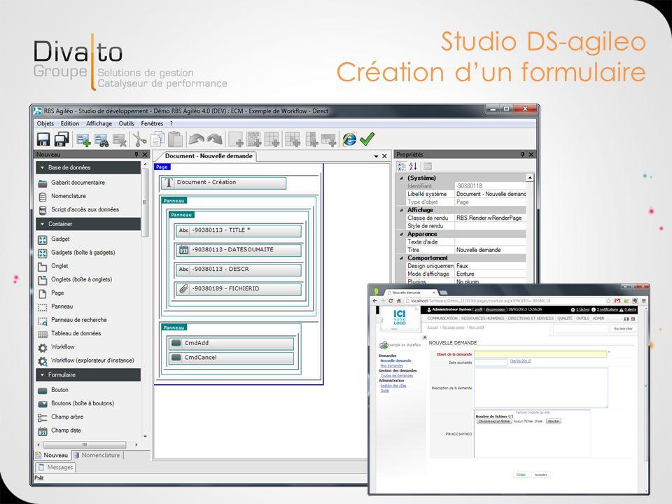 Studio DS-agileo Création d'un formulaire