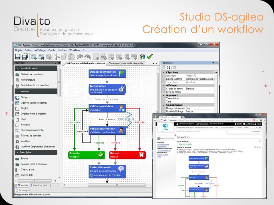 Studio DS-agileo Création d'un workflow