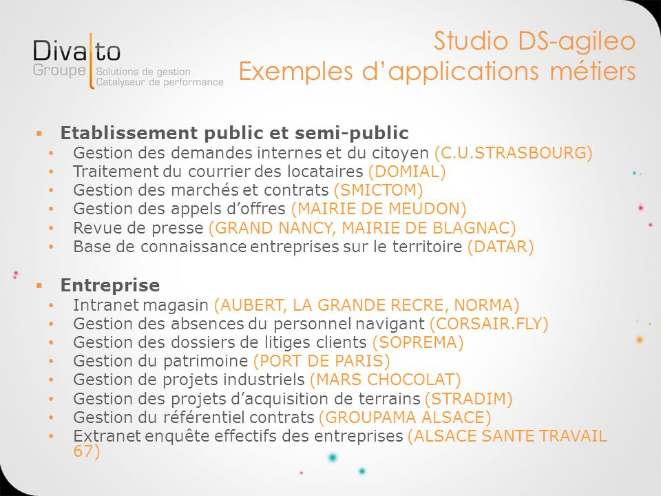Studio DS-agileo Exemples d'applications métiers