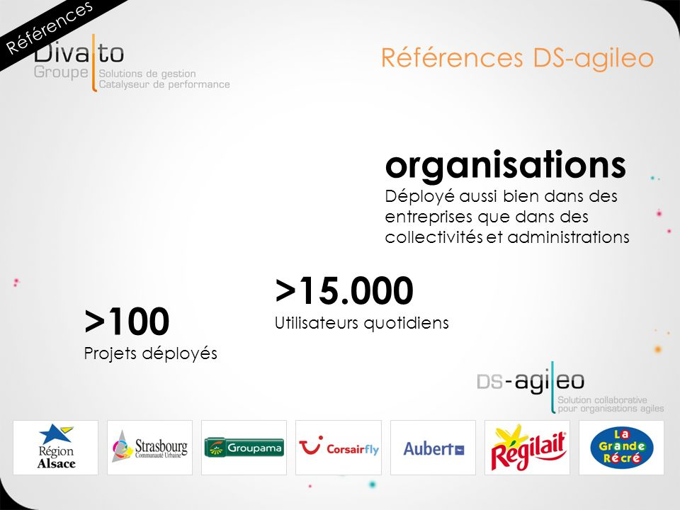 organisations >15.000 >100 Références DS-agileo Références
