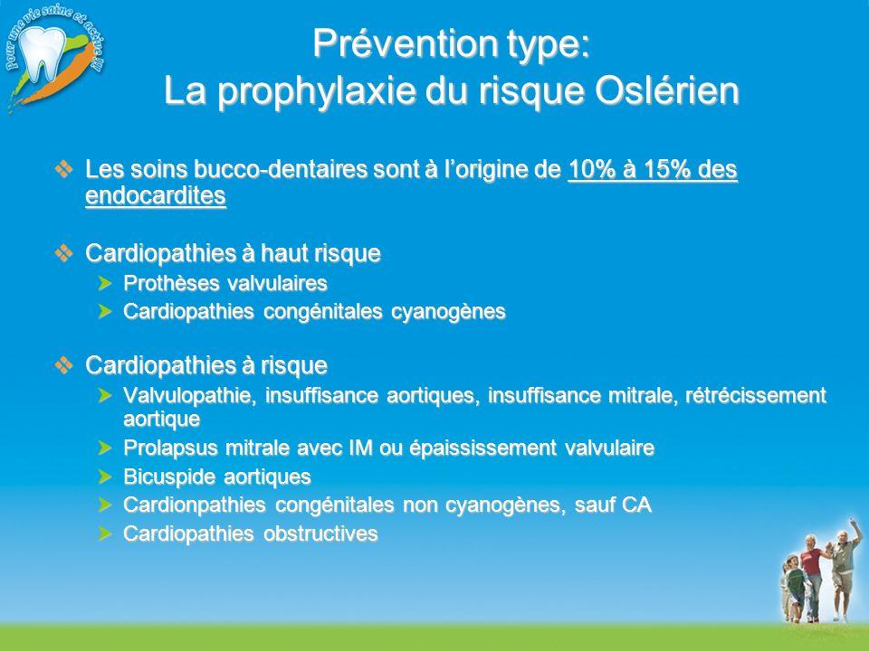 Prévention type: La prophylaxie du risque Oslérien