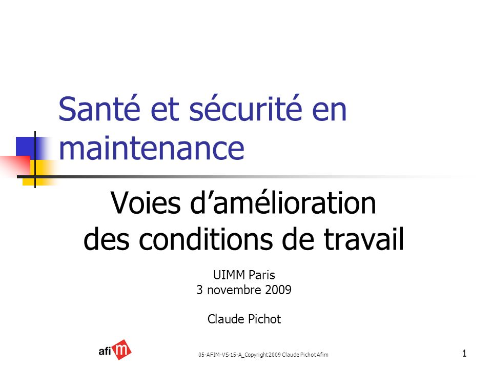 Santé et sécurité en maintenance