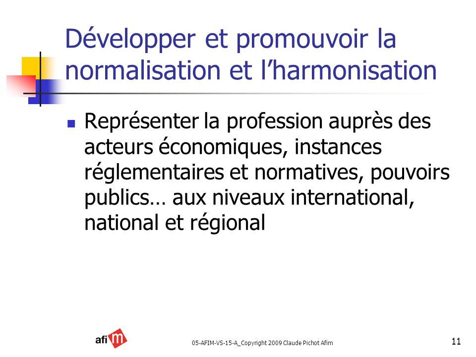 Développer et promouvoir la normalisation et l'harmonisation
