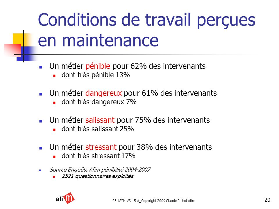 Conditions de travail perçues en maintenance