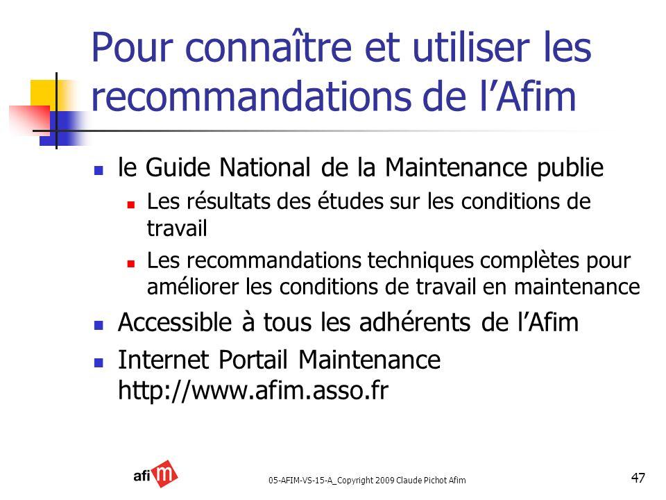 Pour connaître et utiliser les recommandations de l'Afim