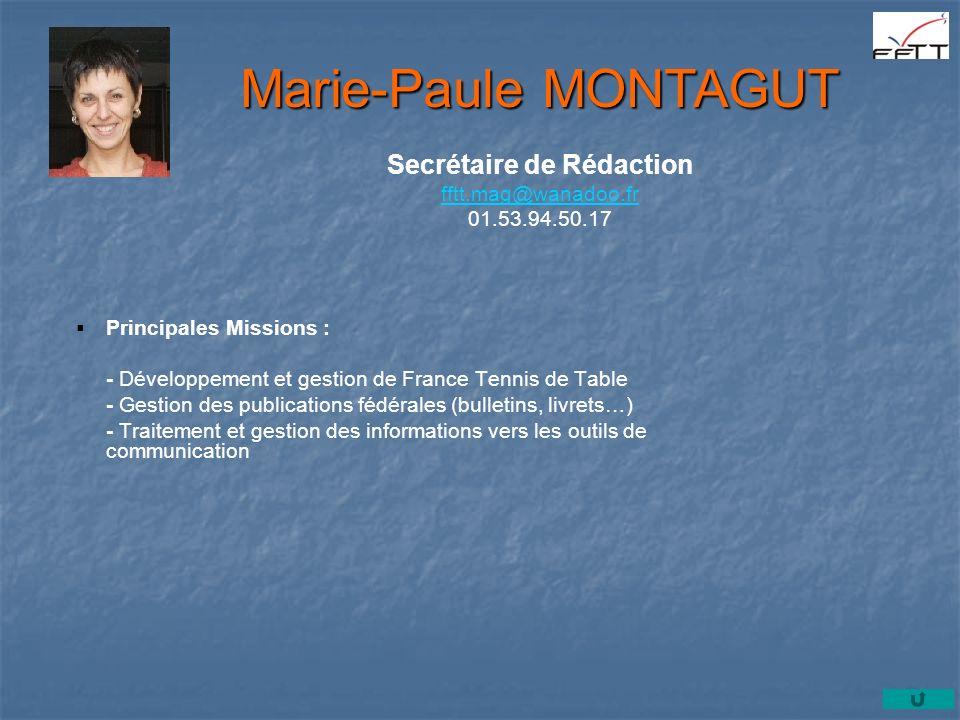 Secrétaire de Rédaction fftt.mag@wanadoo.fr