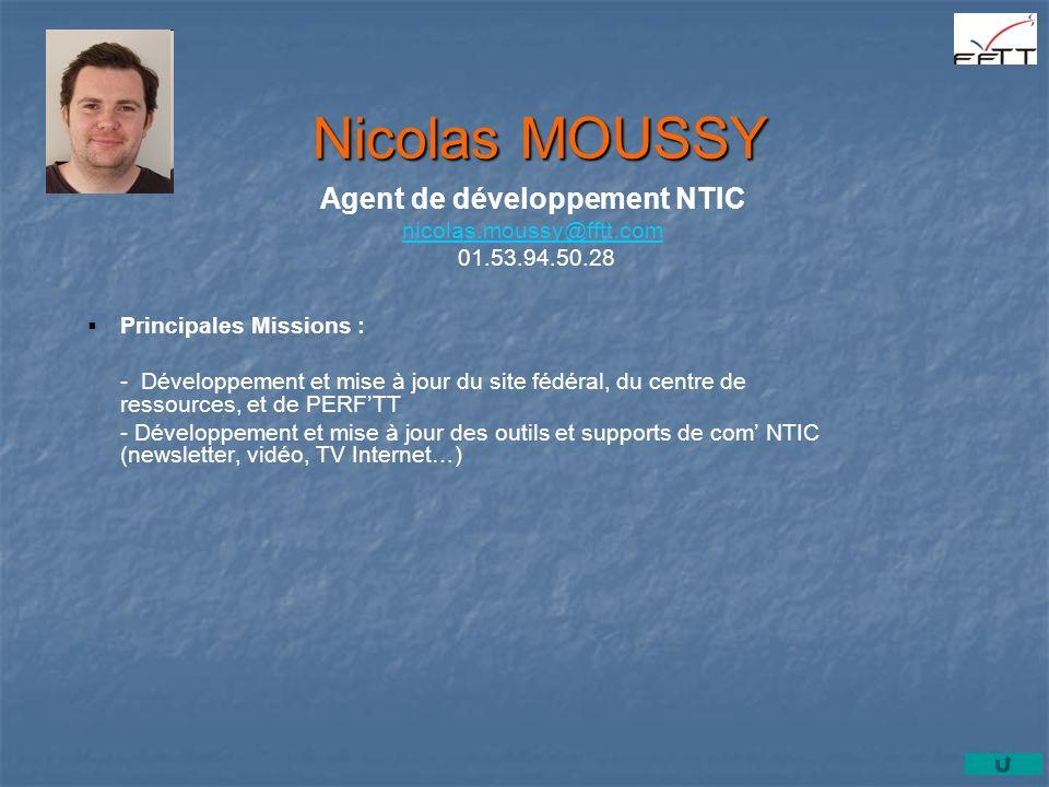 Agent de développement NTIC nicolas.moussy@fftt.com 01.53.94.50.28
