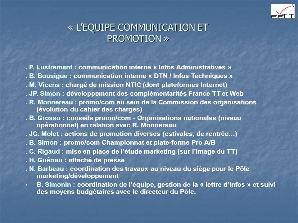 « L'EQUIPE COMMUNICATION ET PROMOTION »