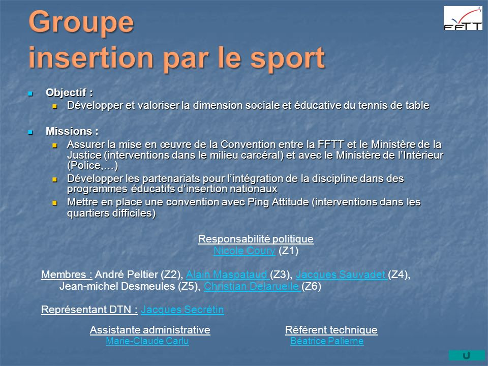 Groupe insertion par le sport