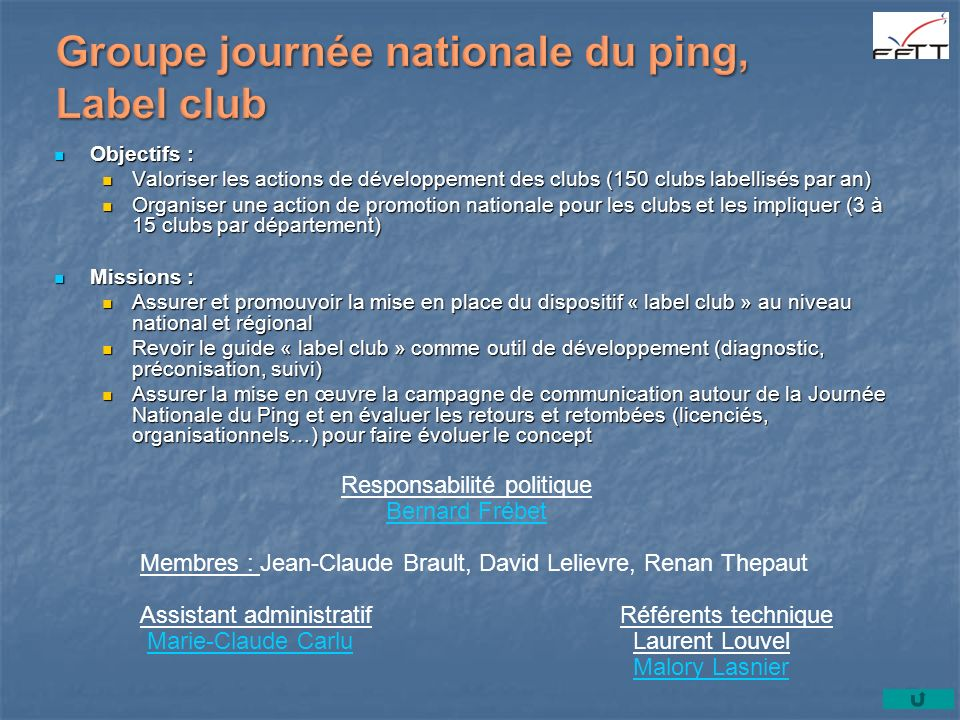 Groupe journée nationale du ping, Label club