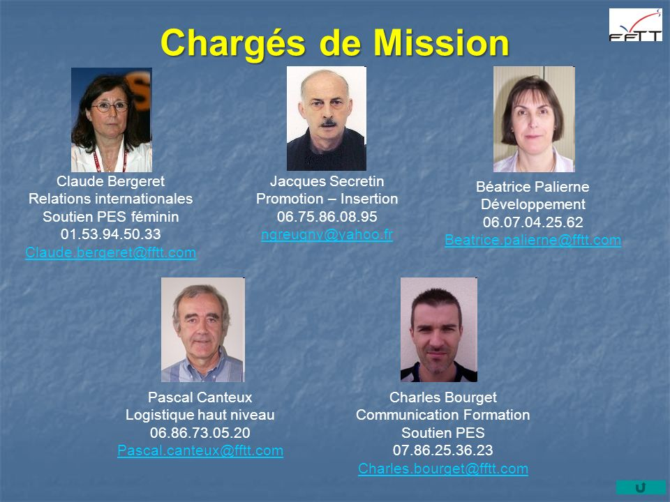 Chargés de Mission Claude Bergeret Relations internationales