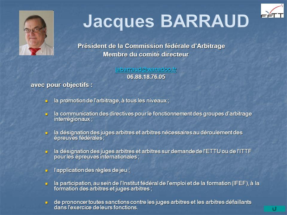 Jacques BARRAUD Président de la Commission fédérale d'Arbitrage
