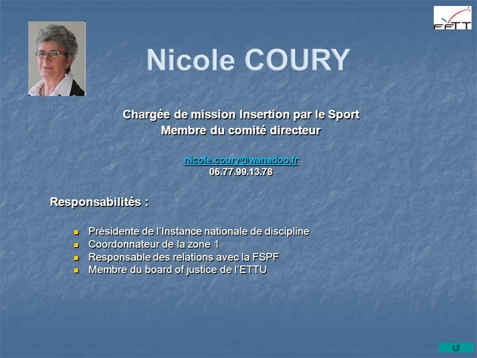 Chargée de mission Insertion par le Sport Membre du comité directeur