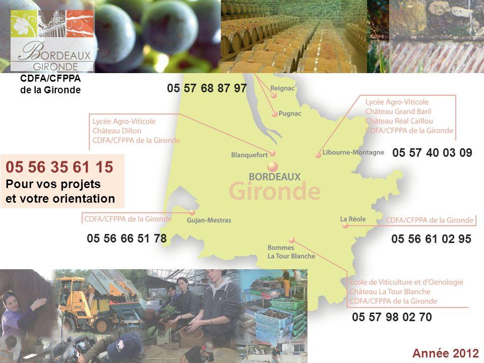 CDFA/CFPPA de la Gironde. 05 57 68 87 97. 05 57 40 03 09. 05 56 35 61 15. Pour vos projets. et votre orientation.