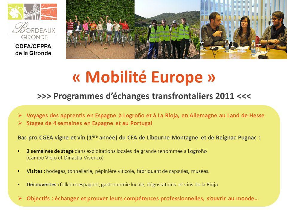 >>> Programmes d'échanges transfrontaliers 2011 <<<