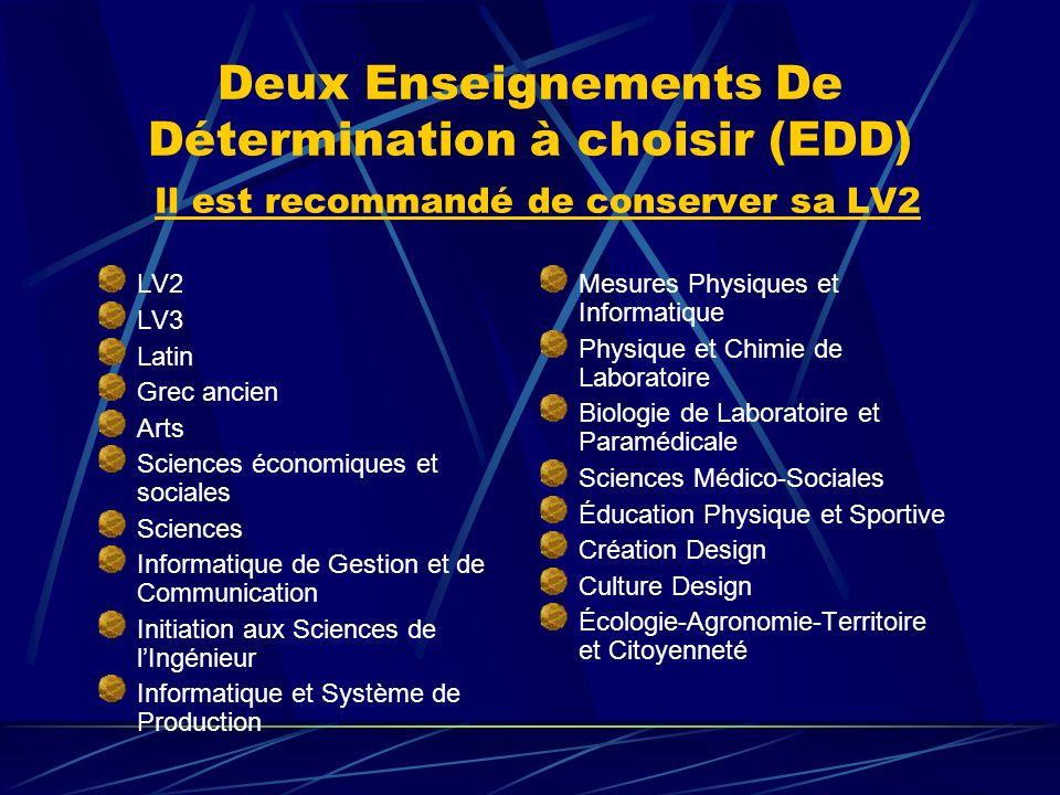 Deux Enseignements De Détermination à choisir (EDD) Il est recommandé de conserver sa LV2