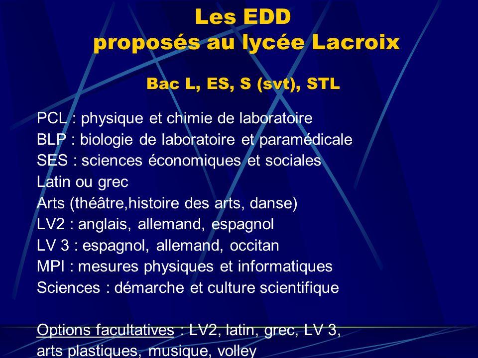 Les EDD proposés au lycée Lacroix Bac L, ES, S (svt), STL