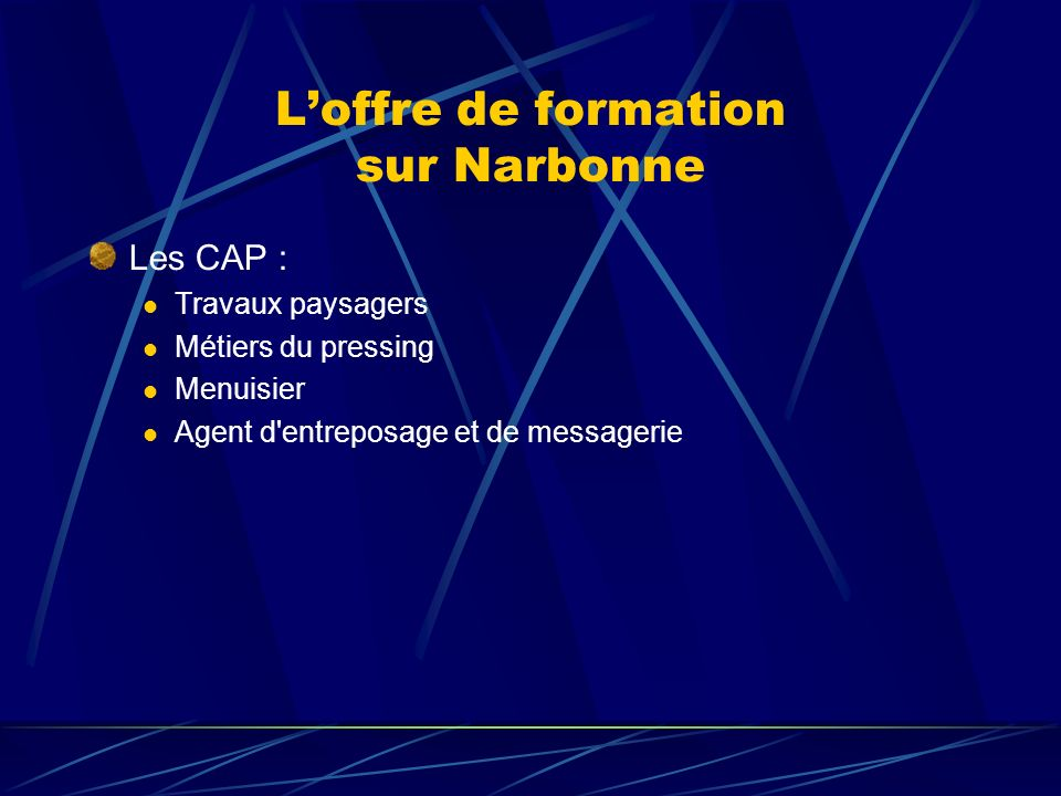 L'offre de formation sur Narbonne