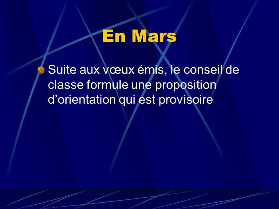 En Mars Suite aux vœux émis, le conseil de classe formule une proposition d'orientation qui est provisoire.