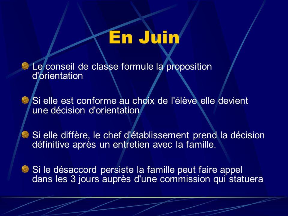 En Juin Le conseil de classe formule la proposition d orientation
