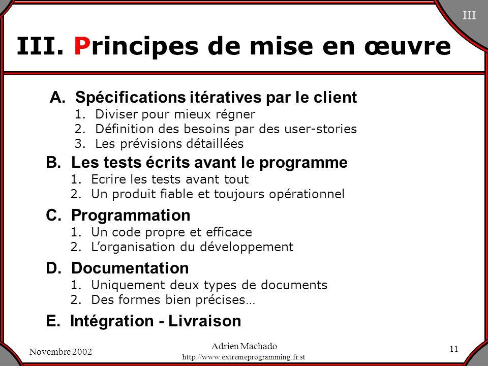 III. Principes de mise en œuvre
