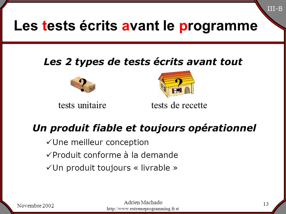 Les tests écrits avant le programme