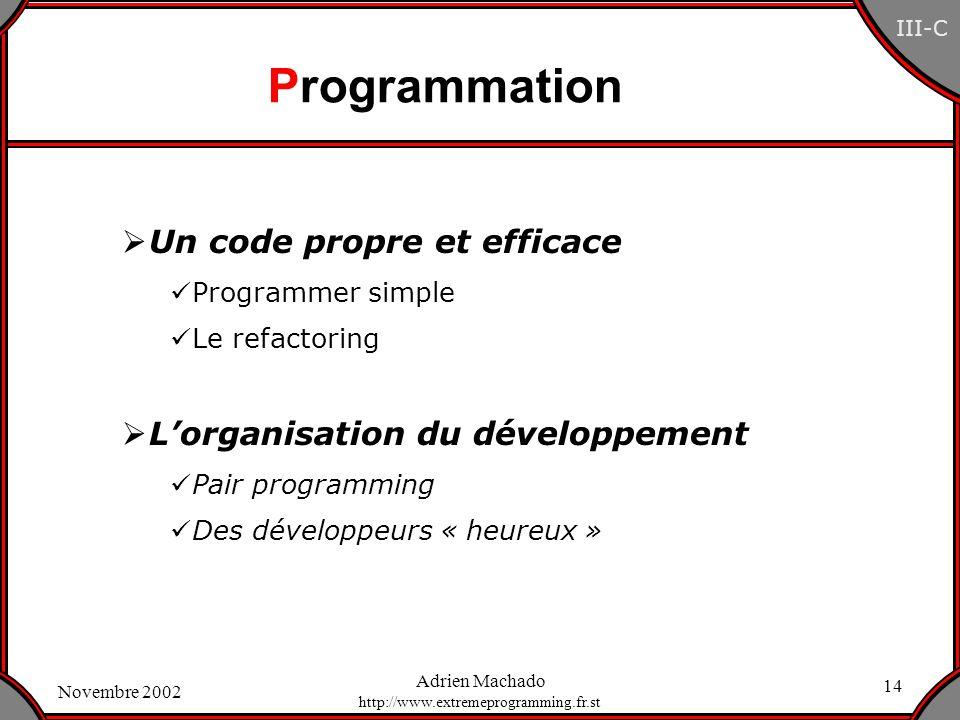 Programmation Un code propre et efficace
