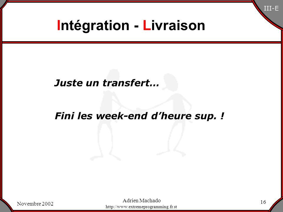 Intégration - Livraison