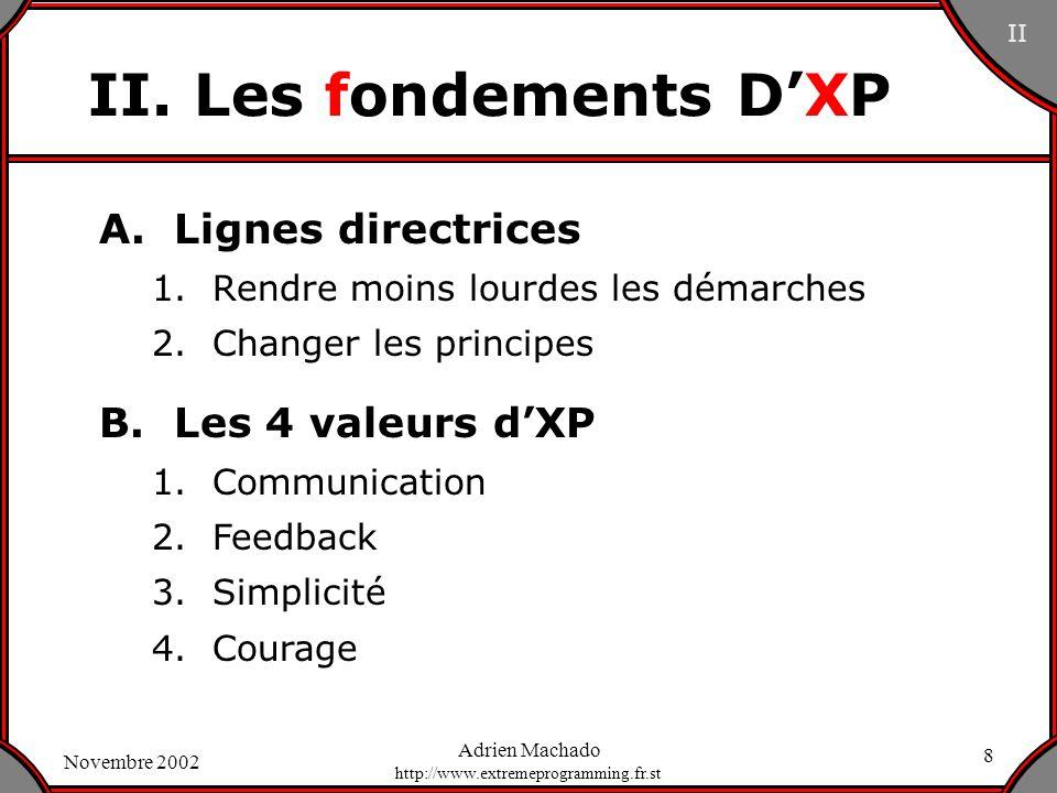 II. Les fondements D'XP A. Lignes directrices B. Les 4 valeurs d'XP