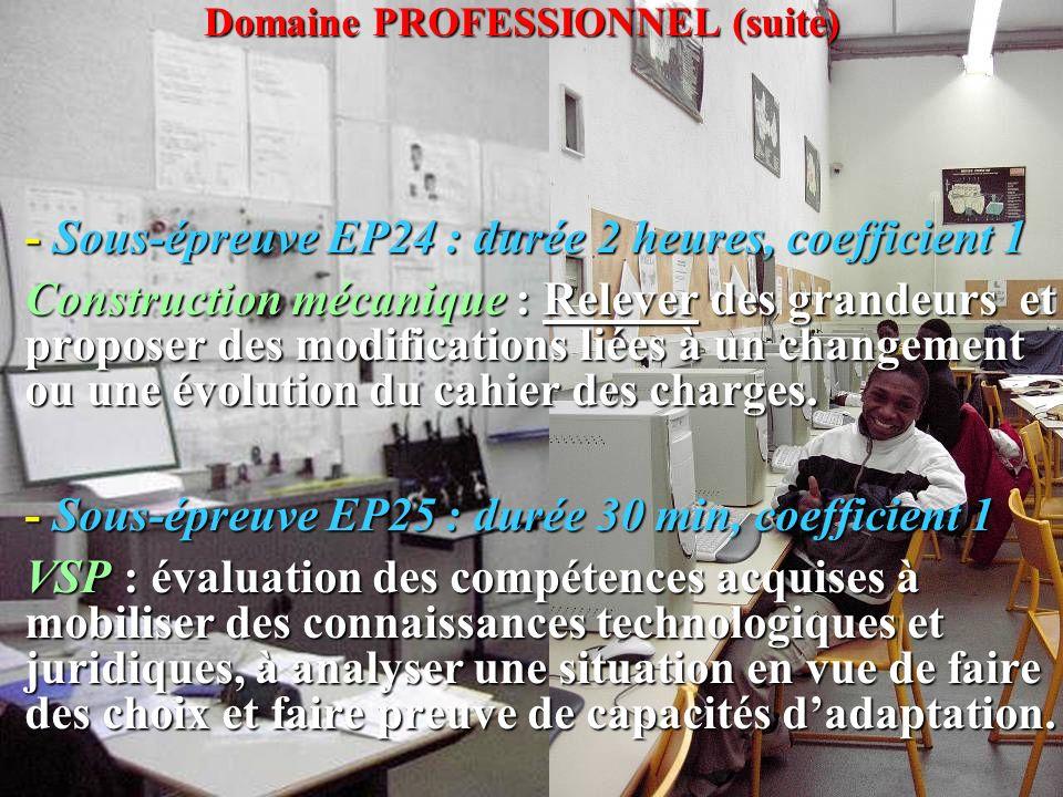 - Sous-épreuve EP25 : durée 30 min, coefficient 1