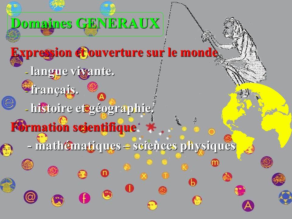 Domaines GENERAUX Expression et ouverture sur le monde langue vivante.