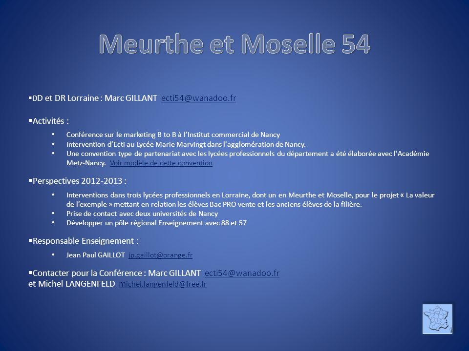 Meurthe et Moselle 54 Activités : Perspectives 2012-2013 :