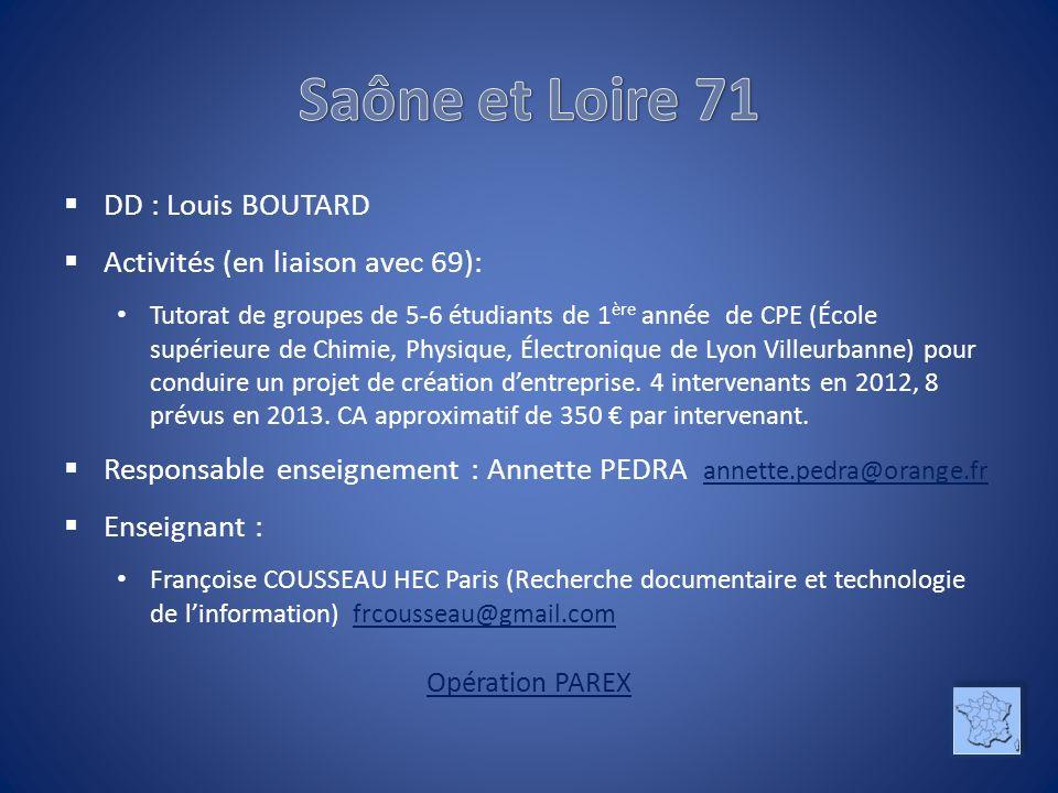 Saône et Loire 71 DD : Louis BOUTARD Activités (en liaison avec 69):
