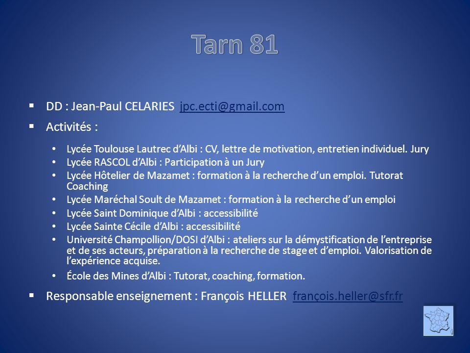Tarn 81 DD : Jean-Paul CELARIES jpc.ecti@gmail.com Activités :