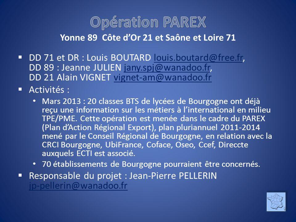 Opération PAREX Yonne 89 Côte d'Or 21 et Saône et Loire 71