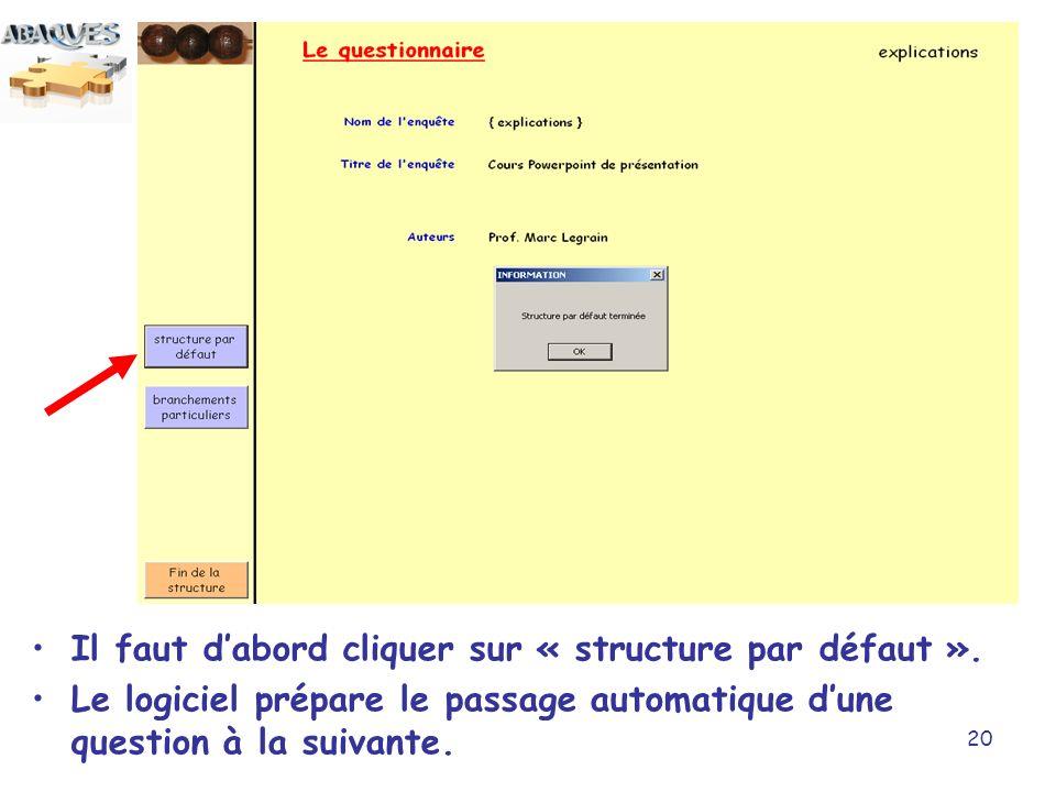 Il faut d'abord cliquer sur « structure par défaut ».