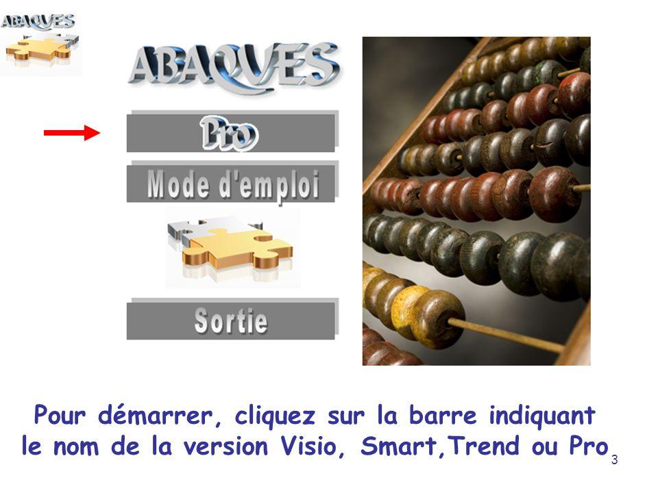 Pour démarrer, cliquez sur la barre indiquant le nom de la version Visio, Smart,Trend ou Pro