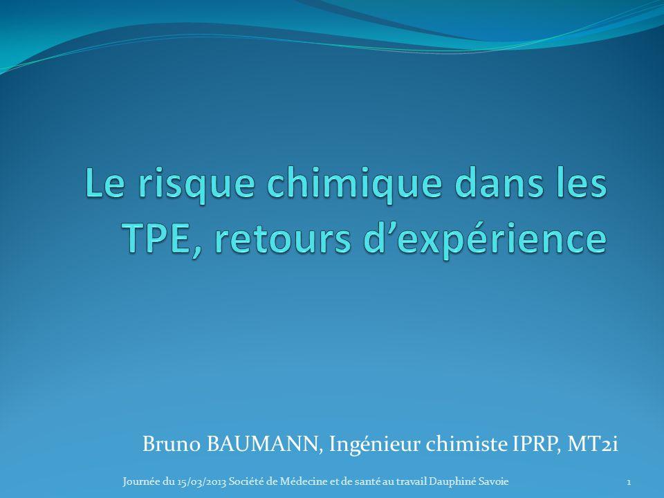 Le risque chimique dans les TPE, retours d'expérience