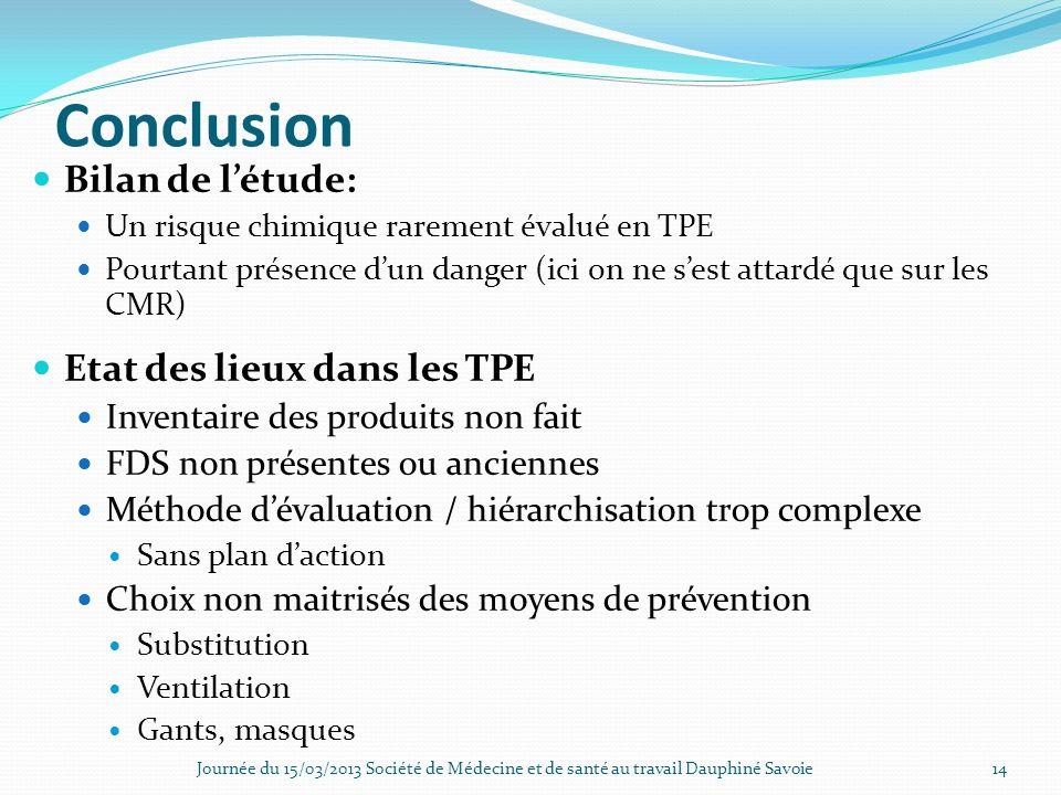 Conclusion Bilan de l'étude: Etat des lieux dans les TPE