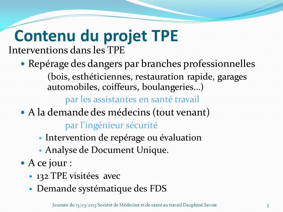 Contenu du projet TPE Interventions dans les TPE