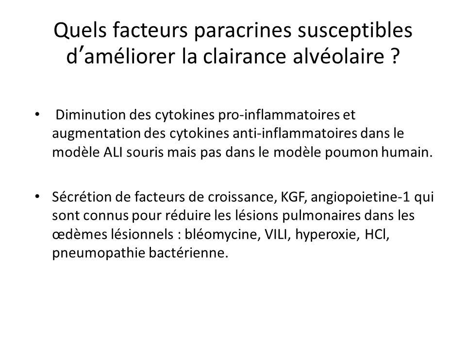 Quels facteurs paracrines susceptibles d'améliorer la clairance alvéolaire