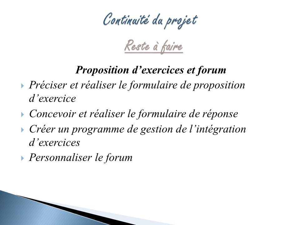 Proposition d'exercices et forum