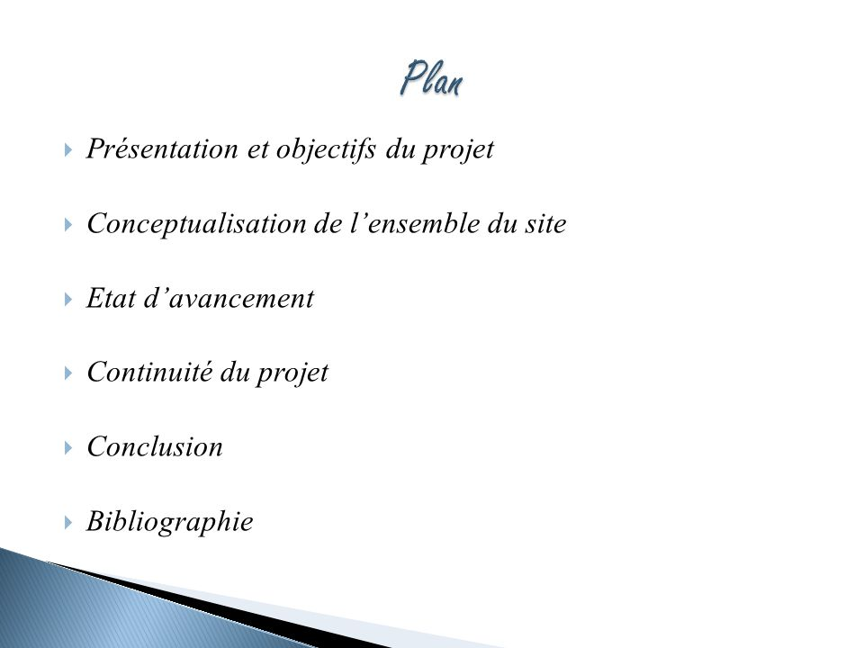 Plan Présentation et objectifs du projet