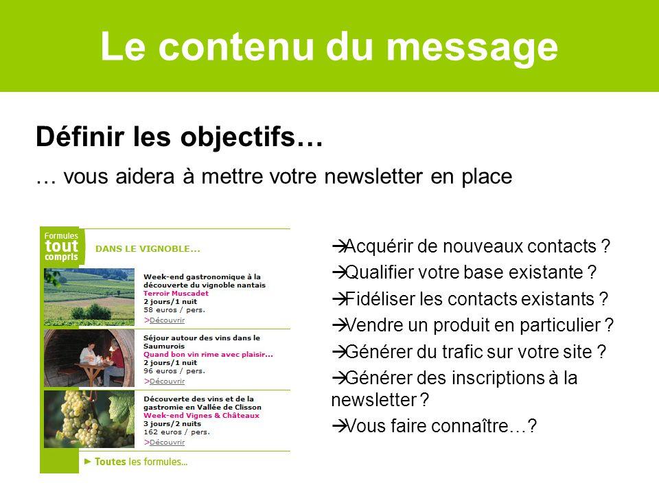 Le contenu du message Définir les objectifs…