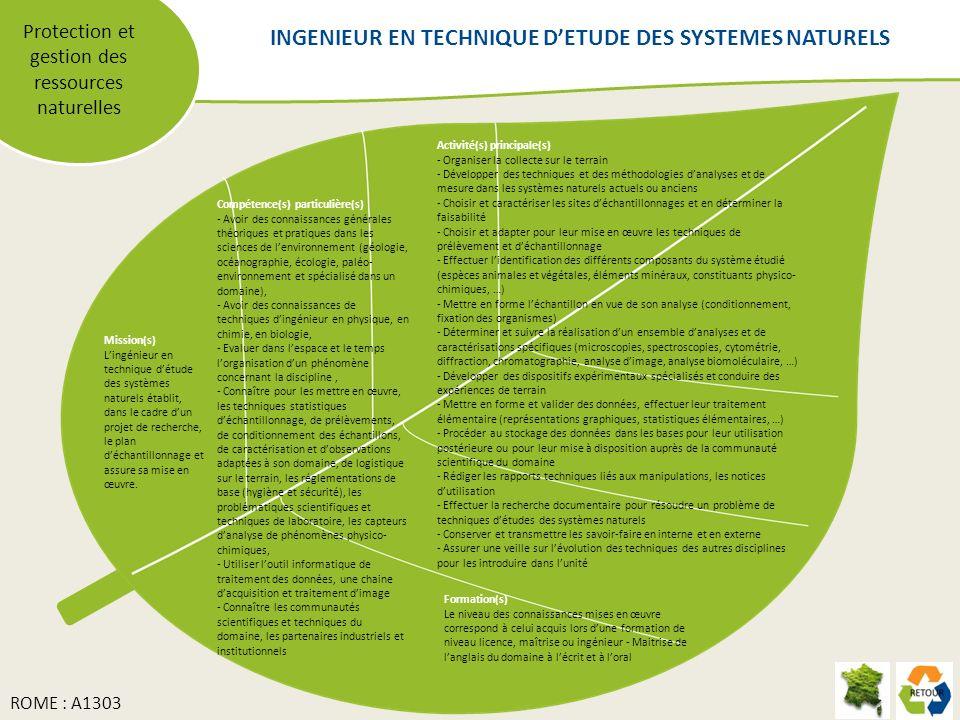 INGENIEUR EN TECHNIQUE D'ETUDE DES SYSTEMES NATURELS